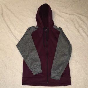 Burgundy Adidas climawarm zip up hoodie
